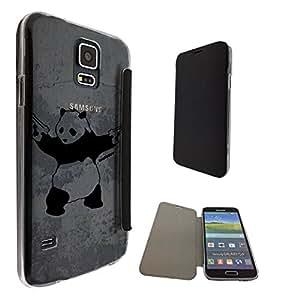 550 - Banksy Grafitti Art Shooting panda Design Samsung Galaxy S5 i9600 Fashion Trend Funky Smart Clear Plastic & TPU Flip Case Full Cover Purse Pouch Defender Book Case