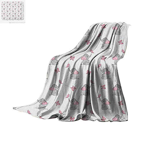 Elephant Nursery Lightweight Blanket Baby Elephants Playing with Butterflies Design Velvet Plush Throw Blanket 90
