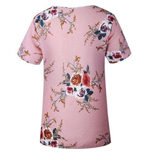 Mode Casual Blouse Ete Manche Femmes Dames Tops Chemisier T Vovotrade Courte Florale Crop Sexy Haut Hemd shirt Tunika Impression Rose Retro Tunique Elegant Dcontracte wvWzWq8