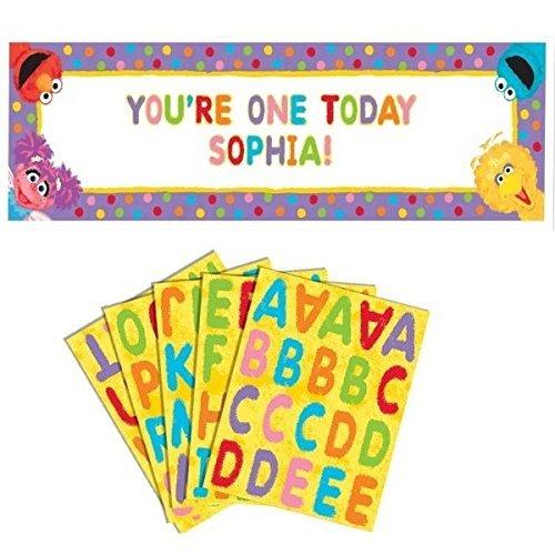amscan Sesame Street 1st Birthday - Personalize Giant Sign - Sesame Banner Street Birthday 1st