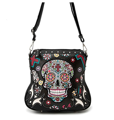 Sugar Skull Cross Body Bag with Concealed Carry Pocket