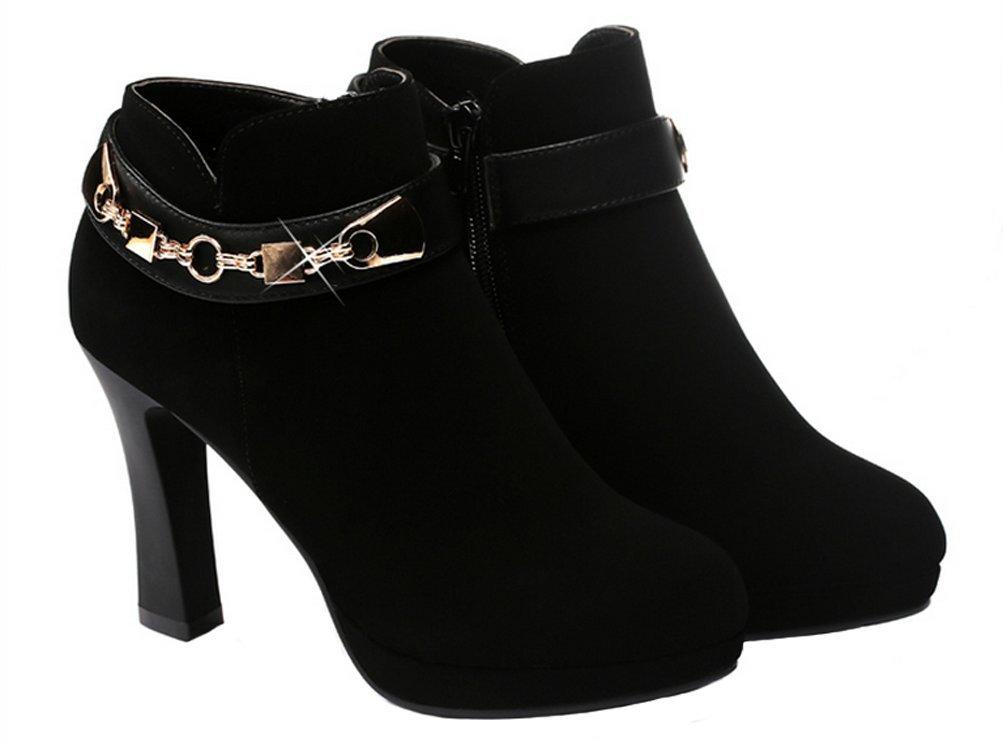 DUNHU Winter Fashion Walking Shoes Casual Warm Plush Lined High Heel Shoes Fashion Women Chains Side Zipper Black Low-top Shoes 8M US