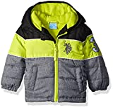 U.S. Polo Assn. Boys' Bubble Jacket (More Styles Available), Medium Heather Grey Lime Stripe, 12M