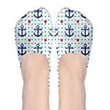 Navy Style Anchor And Heart Womens No-Show Socks Funny Novelty Low Cut Liner Socks