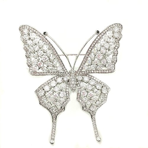 DREAMLANDSALES Insect Jewerly Opens Marquise Shaped Stones Deco Buttefly Brooches Silver (Marquise Shaped Stones)
