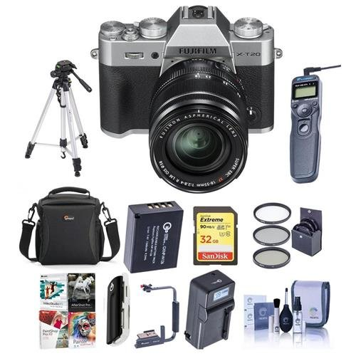 Fujifilm X-T20 Mirrorless Digital Camera Body with XF 18-55mm F2.8-4 R LM OIS Lens, Silver - Bundle with Case, 32GB SDHC U3 Card, Spare Battery, Tripod, Remote Shutter Release, Software Pack and More (Release Shutter Bracket)