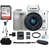 Canon EOS M50 Mirrorless Digital Camera with 15-45mm Lens -White (USA Warranty) Bundle, Includes: 64GB SDXC Class 10 Memory Card + Full Size Tripod + Spare Battery + more
