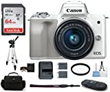 Canon EOS M50 Mirrorless Digital Camera with 15-45mm Lens -White (USA Warranty) Bundle, Includes: 64GB SDXC Class 10 Memory Card + Full Size Tripod + Spare Battery + More For Sale
