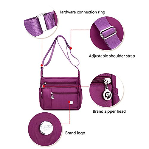 Bags Bag Handbag Size Pocket Bag Crossbody Purple Pocket Messenger Purse Travel Women Large Anti Organize for Shoulder Casual Nylon Zipper with Theft Waterproof Pack q75w605