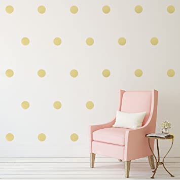 Amazoncom Gold Polka Dots Wall Decals   Decals Removable - Nursery polka dot wall decals