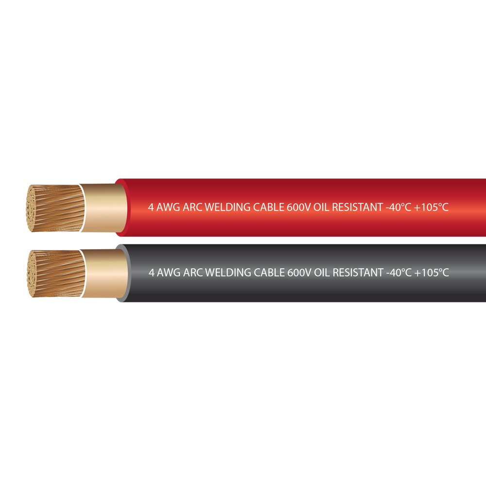 EWCS 4 Gauge Premium Extra Flexible Welding Cable 600 Volt COMBO PACK - BLACK+RED - 25 FEET OF EACH - EWCS Branded - Made in the USA! by EWCS