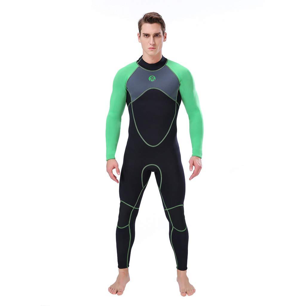 Seaintheson Men's Wetsuit 3MM Back Zip Full Body Diving Suit Super Stretch Diving Suit Swim Surf Snorkeling (Green, XXXL)