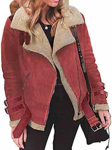 9fd1b8baecdd9 Winter Warm Faux Fur Fleece Coat Outwear Lapel Biker Motor Jacket Women  AfterSo