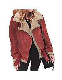 Winter Warm Faux Fur Fleece Coat Outwear Lapel Biker Motor Jacket Women AfterSo