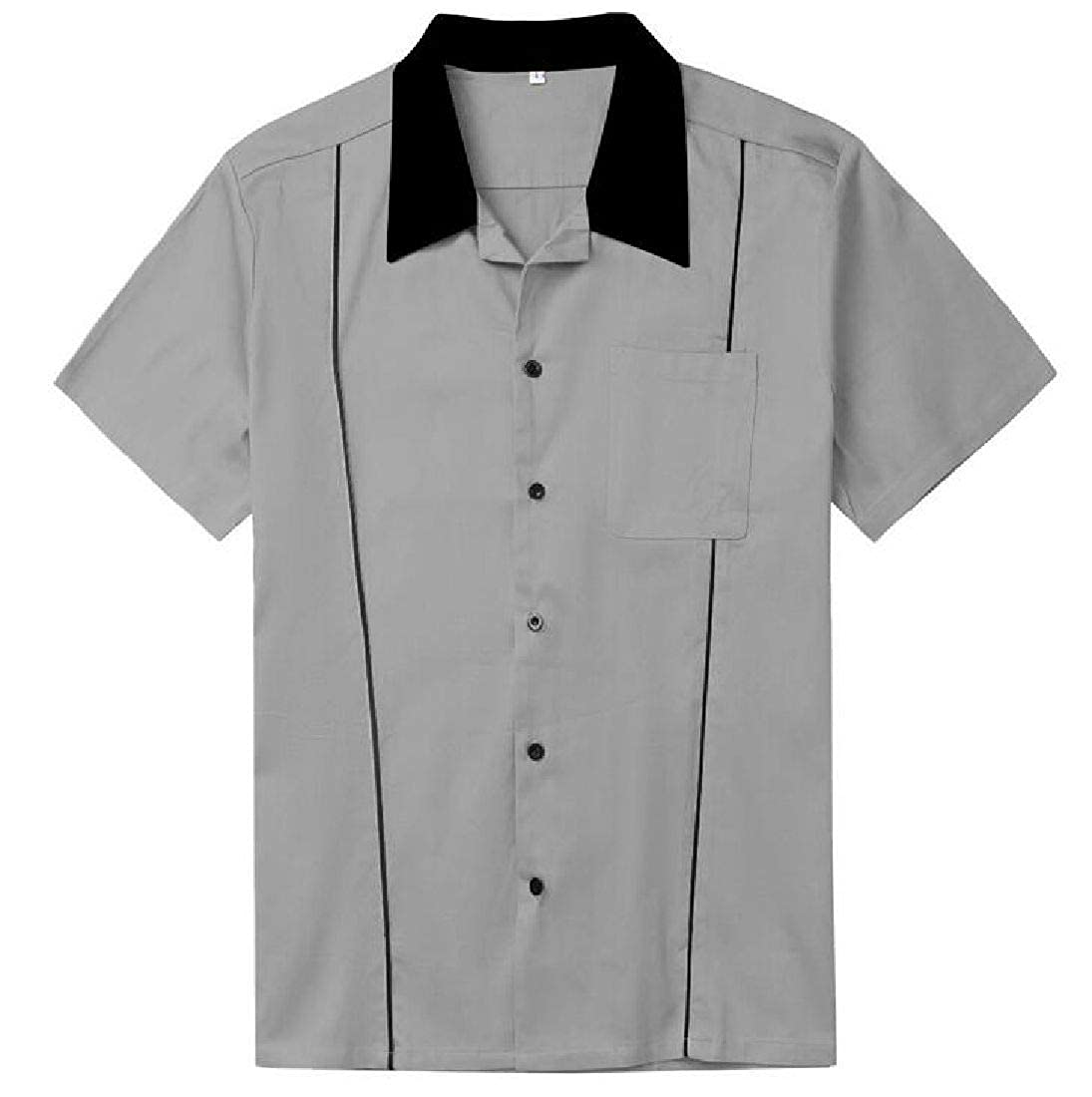 GRMO Men Vintage Short Sleeve Spread Collar Button Front Shirt with Pocket