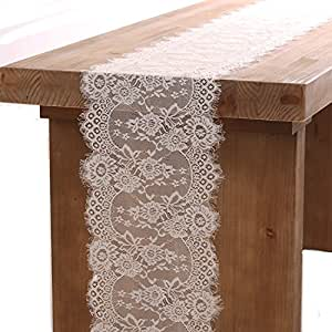 Ling's moment 14x120 Inch White Lace Table Runner Boho Wedding Reception Table Decoration Summer & Fall Decoration Baby & Bridal Shower Party Decor