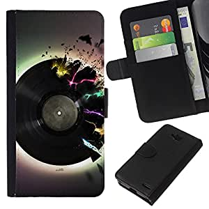 All Phone Most Case / Oferta Especial Cáscara Funda de cuero Monedero Cubierta de proteccion Caso / Wallet Case for LG OPTIMUS L90 // Vinyl Music Neon Colors Art Love Retro Dance