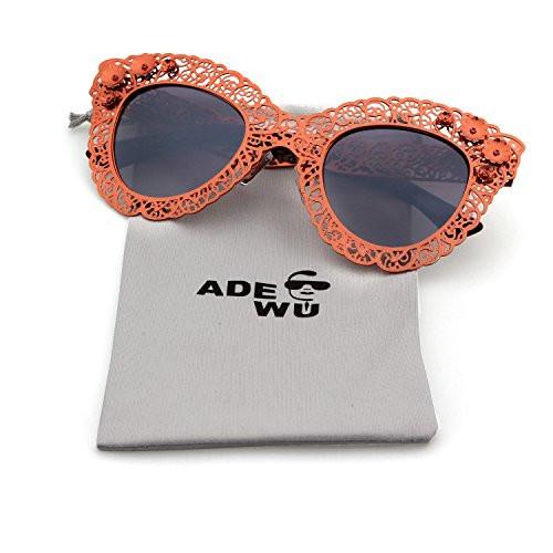 Guoxuan Women's Pierced Deep Pink Sunglasses With Carving Lace Metal Flower - Try Face On Online Your Glasses