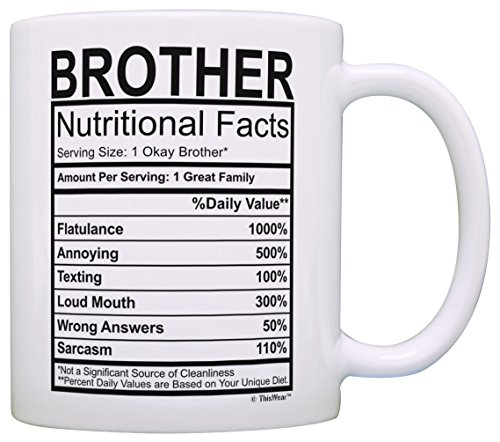 Amazon Graduation Gifts For Brother Nutritional Facts Label Funny Gag Gift Coffee Mug Tea Cup White Kitchen Dining