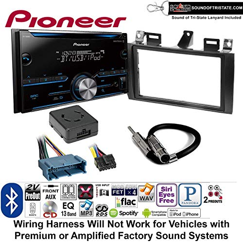 Pioneer FH-S500BT Double Din Radio Install Kit with CD Player Bluetooth Fits 2000-2005 Cadillac Deville, 1996-2004 Seville + Sound of Tri-State Lanyard