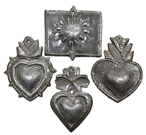 Milagro Heart, (set of 4), Haitian Metal , Recycled Art  - metal valentines day wall art