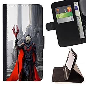 BullDog Case - FOR/Apple Iphone 5 / 5S / - / demon character red cape monster death /- Monedero de cuero de la PU Llevar cubierta de la caja con el ID Credit Card Slots Flip funda de cuer
