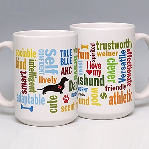 15 oz. Personalize this Ceramic Dachshund Coffee/Tea Mug ~ perfect for a dog or pet lover ~ can be ()