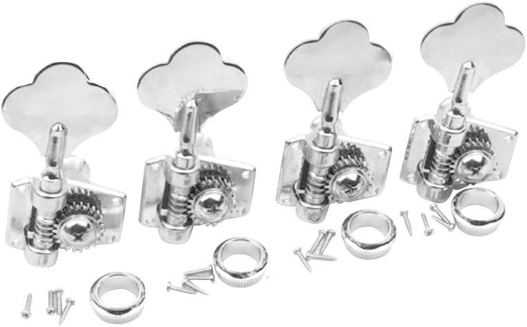 Open Gear //Right //Chrome 4x Universal Bass Guitar Tuners Tuning keys Head Peg