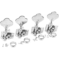Musiclily 4-in-line Vintage Open Gear Bass Tuners Machine Head Tuning Keys Pegs Set Right Hand for Jazz Precision P Bass Replacement, Chrome