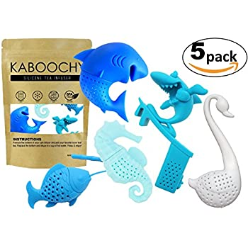 UnderWater World Set of 5 Silicone Tea Infusers, includes Fish, Seahorse, Swan, Shark & Surfing Shark. Cute Loose Leaf Tea Diffuser Strainer Gift Pack