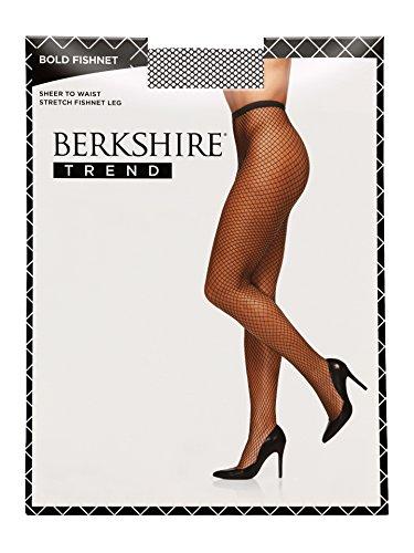 Berkshire Women's Plus Size Trend Bold Fishnet Pantyhose, Black, 1X-2X