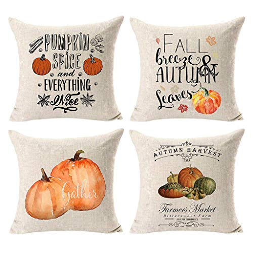 Winsummer Set of 4 Autumn Thanksgiving Pillow Covers Fall Pumpkin Harvest Decorative Pillowcases Halloween Pillow Case Cotton Linen Farmhouse Decor Throw Cushion Covers for Car Sofa Bed Couch (Autumn Furniture)