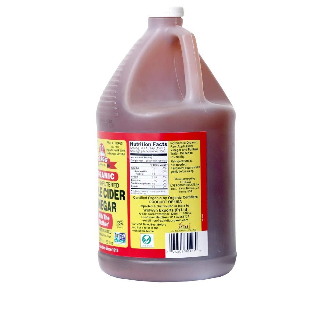 Organic Raw Apple Cider Vinegar Unfiltered Bragg 1 Gal (128oz) Liquid by Bragg (Image #3)