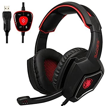 Spirit Wolf 7.1 Canal Virtual Surround Stereo USB PC Gaming Headset Wired Sobre la Oreja los