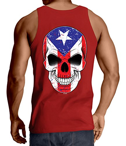 Men's Puerto Rico Flag Skull Tank Top (Red, Medium)