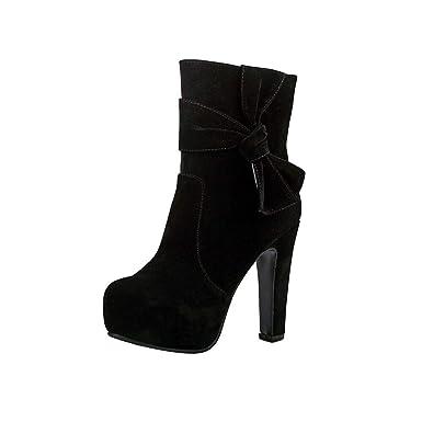 4b4a2930ab54c Amazon.com: Hunzed Women Shoes Round Head Waterproof high Heel ...