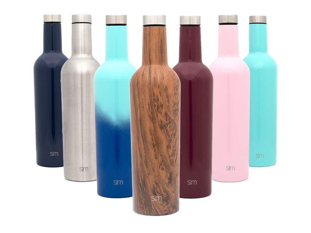 Simple Modern Spirit 25oz Wine Bottle - Vacuum Insulated Water Bottle Leak Proof Double Wall Flask - 18/8 Stainless Steel Travel Mug - Wood Grain