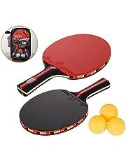 Amaza Palas Ping Pong, Table Tennis Set, 2 Raquetas + 3 Pelotas de Ping-Pong