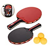 Amaza Large Friction Table Tennis set Professional with Portable Carry Bag, 2 Double-sided Premium Rubber Table Tennis Bats + 3 Ping Pong Balls for Trainers, Amateurs, Beginners,Expert (Red)