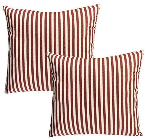 Casual Striped Cotton Pillow Red Set product image