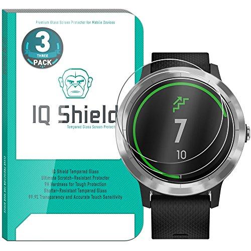 Garmin Vivoactive 3 Screen Protector (3-Pack), IQ Shield Tempered Ballistic Glass Screen Protector for Garmin Vivoactive 3 99.9% Transparent HD and Shatter-Proof Shield