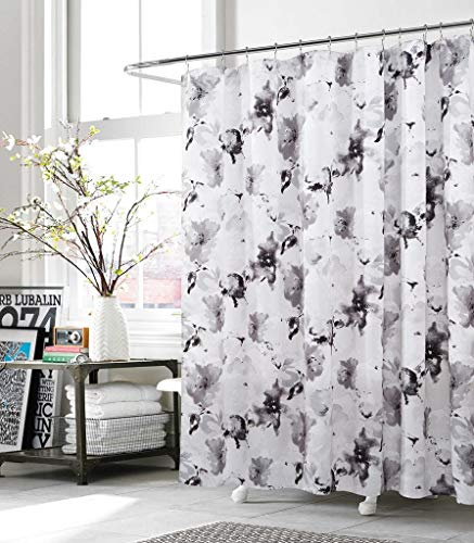 Black White Toile Curtains - Kensie Fabric Shower Curtain Grey White Floral Watercolor Modern Art