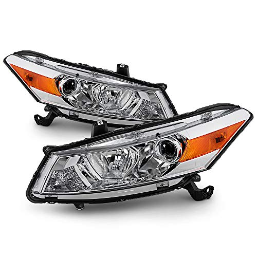 (ACANII - For 2008-2012 Honda Accord 2-Door Coupe [Factory Style] Chrome Housing Headlights Headlamps Driver & passenger)