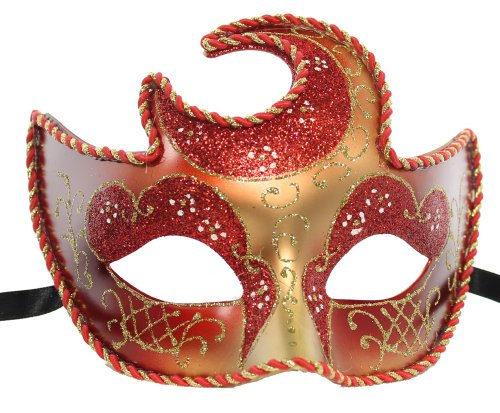 RedSkyTrader Womens Sparkling Venetian Party Mask One Size Fits Most Red Gold (Red Halloween Mask)