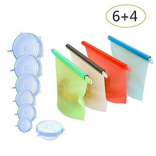 Bolsa de conservación de alimentos de silicona reutilizable de 4 piezas,6 unids Tapón de Silicona Tapas Reutilizables Tapas de Silicona Ampliable ...