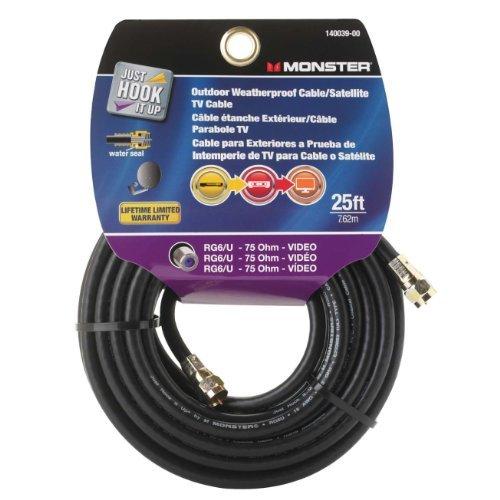 ACE RG6U - Heavy-duty Premium 25 Ft, 75 Ohm, Black Coaxial Cable