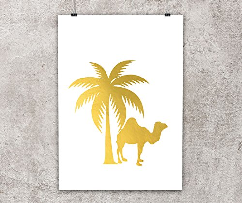 Camel and palm trees, tropical décor, desert - Gold foil , 8x10 inches, Unframed print, Gold Poster