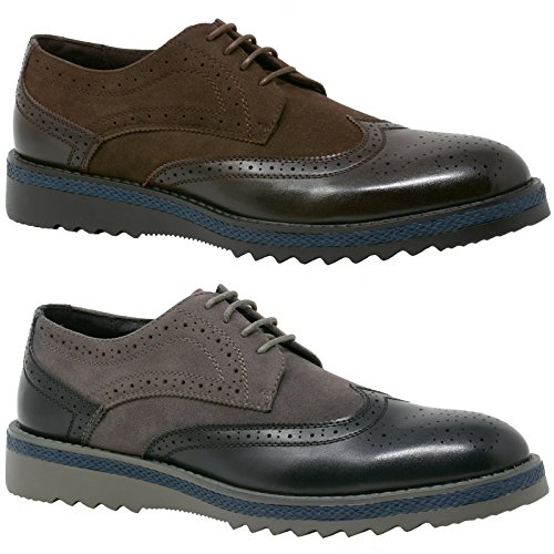 alpine swiss Alec Men?s Ripple Sole Wingtip Shoes Leather Lining & Insole - Runs 1 Size Big