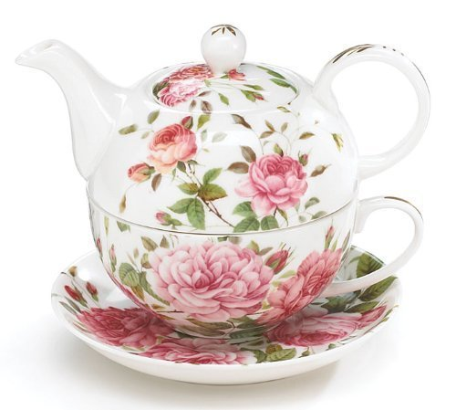 - Porcelain Rose Teapot and Teacup For One