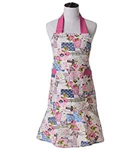 KINGO HOME Cute Women Anthropologie Bib Vintage Grilling Flirty Girl Chef Kitchen Cooking Apron, 100% Cutton Housewife Apron with Pockets